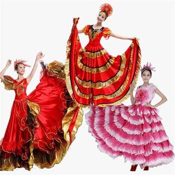 Donne Spagna Vestito Flamenco Gonne Costumi di Danza Spagnola Gypsy Skirt Bigdance Fiore Coro Usura di Prestazione Della Fase per la Donna