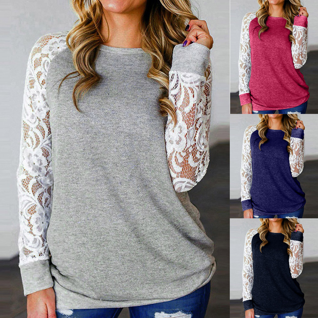 Oversize Tops Women 6XL T-Shirt Floral Splicing Shirt Fashion O-Neck Long Sleeve T-Shirt Tops Blusa Dropshipping ##6