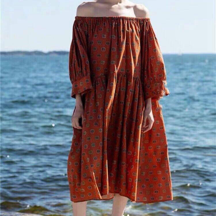 ผู้หญิงชุด Northern Europe สีเหลือง/rust Print พิมพ์ปิดไหล่ขนาดใหญ่ Midi ชุดหลวม-ใน ชุดเดรส จาก เสื้อผ้าสตรี บน   1