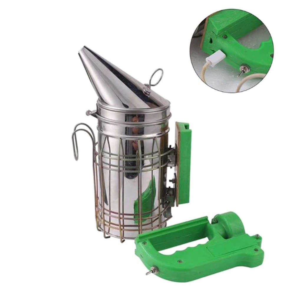 Rechargeable Electric Beekeeping Smoker Bee Treatment Stainless Steel Apiculture