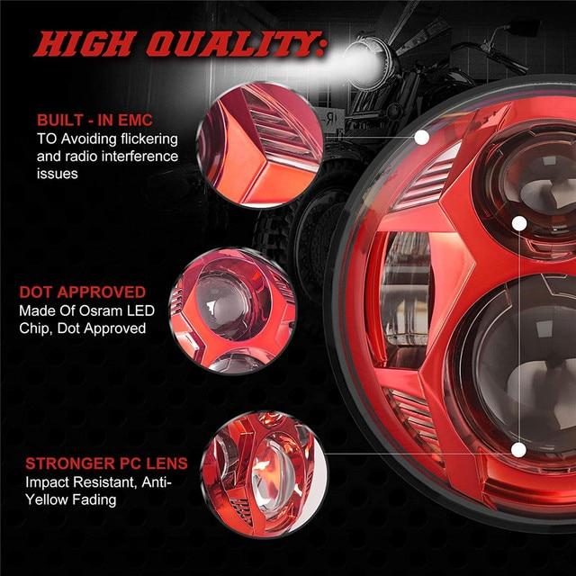 5.75 Inch 51W Osram LED Lamp Spider Design Motorcycle Headlight With High/Low Beam For Harley FXR2, R3, R4 FLSTSB FLSTSC FLSTSE 2
