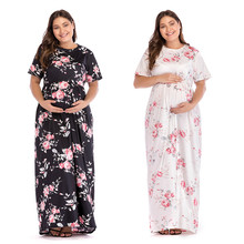 Autumn/Winter Women Floral Printed Maternity Dresses Ladies Fashion Round Neck Short Sleeve Long Dress S-XL