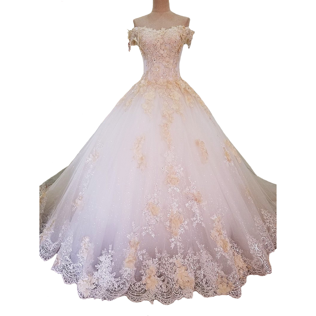 Купить с кэшбэком Tulle Shining Off The Shoulder White Lace Bridal Wedding Dress Long Trail Sexy Feather Wedding Luxury Gowns Vestido De Novia