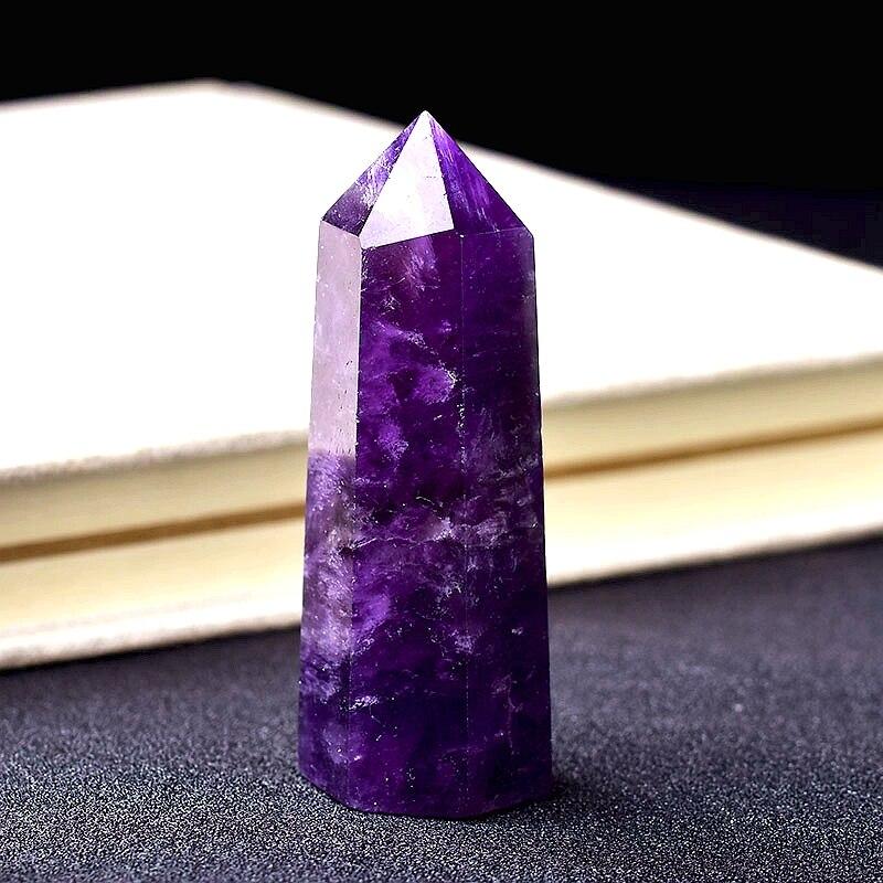 Pedra natural da energia da cura de cristal do ponto de ametista natural de quartzo decoração da casa de reiki polido artesanato 50-80mm de pedra esculpida 1pc