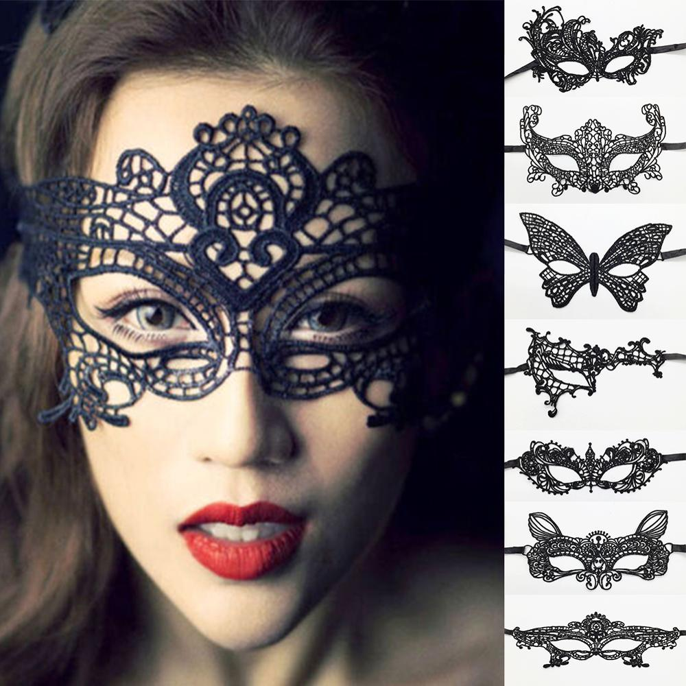 1 Pc Women Black Sexy Lace Eye Mask For Carnival Halloween Masquerade Half Face Ball Party Masks Festive Party Supplies