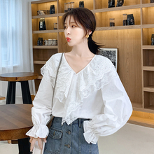 Korean Fashion Women Blouses Autumn Ruffles Shirts Plus Size XXL Femininas Elegante Ladies Tops