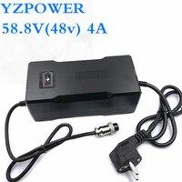Yzpower AC100V-240V 58.8 v 2.5a 3a 3.5a 4a carregador de bateria de lítio automático para 48 v li-ion lipo bateria ferramenta elétrica