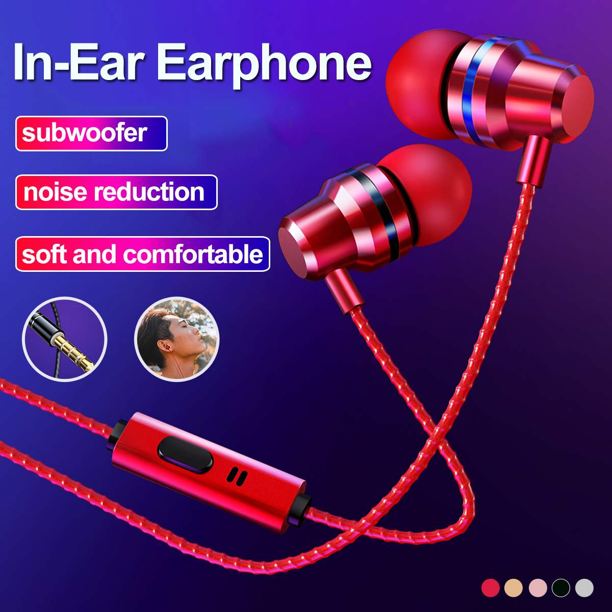 Wired Earbuds Headphones 3.5mm In Ear Earphone Earpiece With Mic Stereo Headset 5 Color For Samsung For Xiaomi Phone Computer