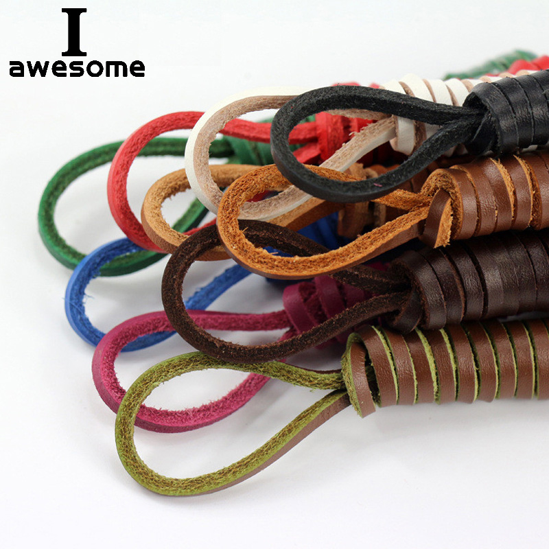 Fashion 80-120cm Round Waxed Cord Shoe Laces Unisex Leather Shoelaces String 2x