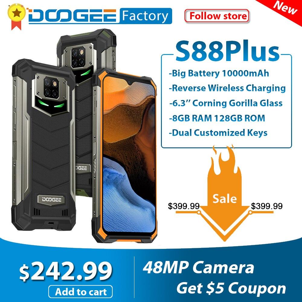 Глобальный DOOGEE S88 плюс IP68/IP69K прочный мобильный телефон 10000 мА/ч, 8 Гб 128 Android 10 смартфон Helio P70 Octa Core телефоны