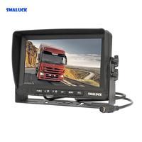 SMALUCK AHD 7 IPS Car Monitor Rear View Monitor Support 1080P AHD Camera with 2 x 4PIN Video Input 12V 24V DC