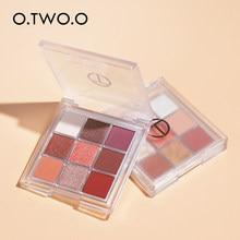 O. tw oo eyeshadow cosméticos 9 cores nude shimmer alto pigmentado sombras à prova dglitter água sombra paleta brilho para olhos maquiagem