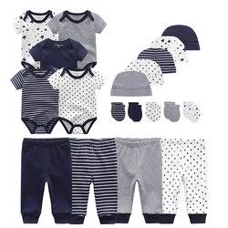 Unissex bebê recém-nascido roupas do menino bodysuits + calças + chapéus luvas conjuntos de roupas de algodão da menina do bebê