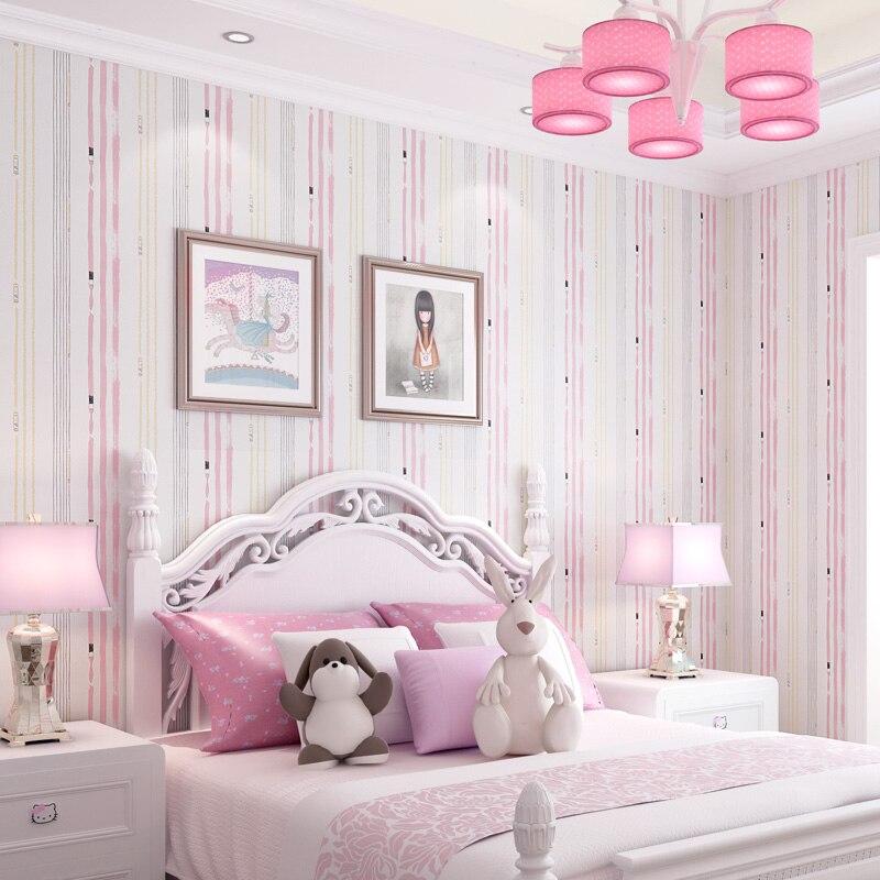 Indah Pink Stripe Bayi Gadis Kamar Wallpaper Lucu Self Adhesive Biru Hijau Anak Kamar Tidur Anak