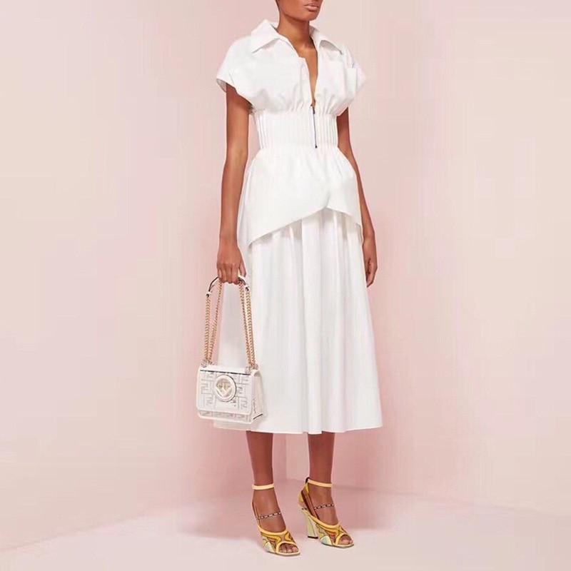 Women White Summer Dress Elegant Short Sleeve High Waist Tunic Midi Dress High Street