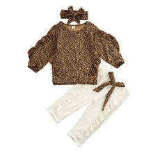 Toddler Kid Baby Girl Fall Autumn Clothes Ruffle Leopard Tops Leggings White Pants Outfit Set Tracksuit 3Pcs set(China)