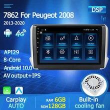 Radio Multimedia con GPS para coche, Radio con reproductor de vídeo, Android 10, 9 pulgadas, 2 Din, DVD, unidad principal, para Peugeot 2008, 208, 2014, 2018
