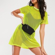 Dress Women Short-Sleeve Nightclub Sexy Summer New Smock Hollow Bikini Skinny Perspective