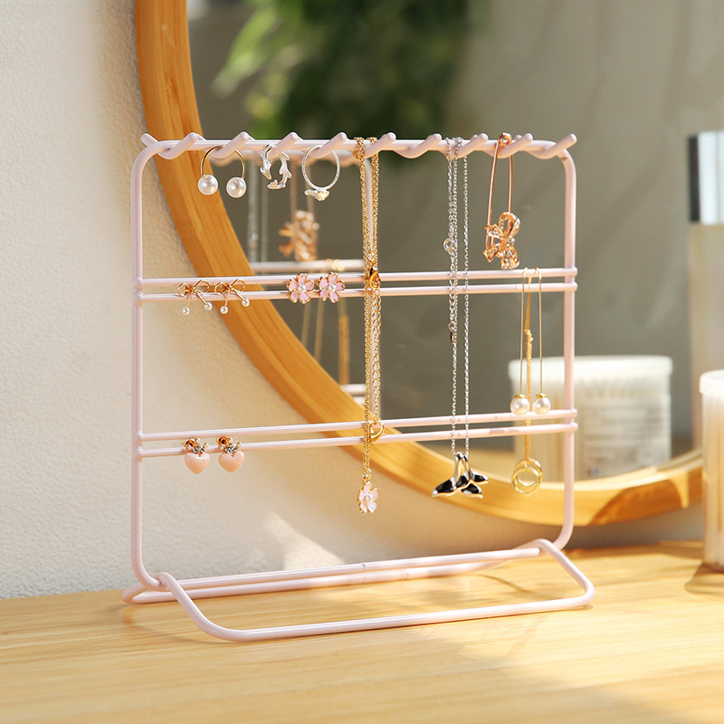 INS Pink Jewelry Rack Earrings Shelf Showing Stand Household Storage Iron Art Hanging Necklace Ear Stud Jewelry Stand