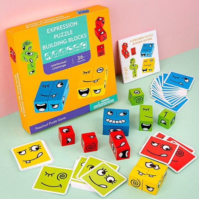 Novel Magic Face Change Puzzle Blocks Children Educational Toys Kids Wooden Building Block Toy 5