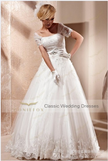 Free Shipping 2016 New Fashion Vestidos De Novia Formal Bride Elegant Long Lace Wedding Party Dresses Bridal Gowns With Sleeve