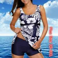Frauen Tankini mit Shorts Retro Druck Floral Badeanzug Damen Bikini Set Zwei Stücke Bademode Tankini Bademode Schwimmen Shorts
