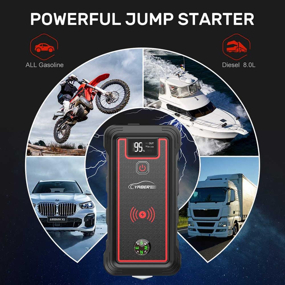 Yaber 2500A 23800Mah Auto Jump Starter 10W Draadloze Oplader Auto Batterij Power Bank Met Lcd-scherm Led Zaklamp veiligheid Hamer