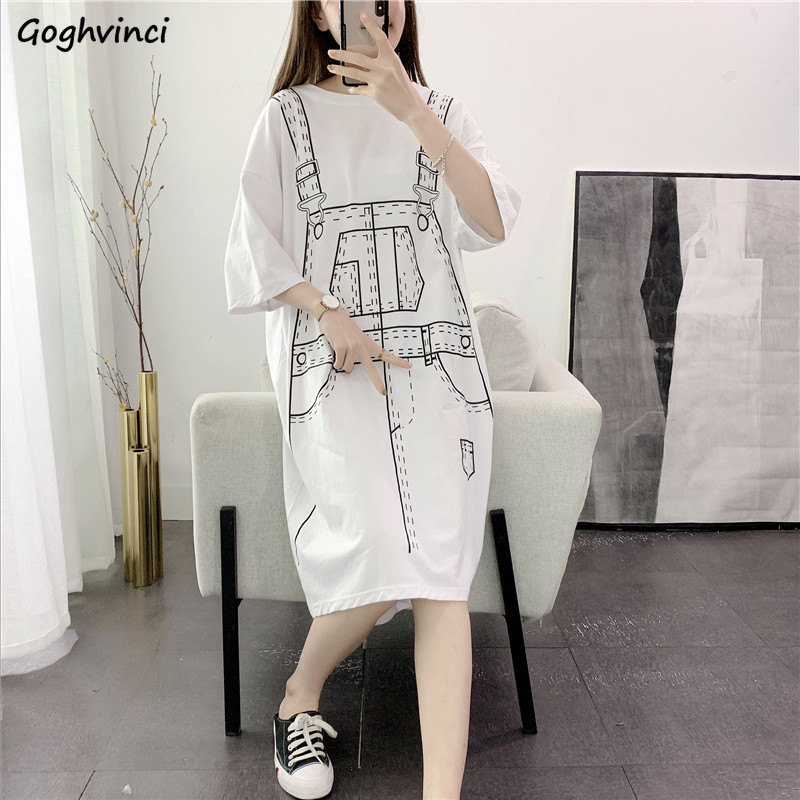 Dress Women Summer Half-sleeve Printed Mid-calf Preppy Style Harajuku Loose H-line Fake-two Pieces Korean-style Simple Casual