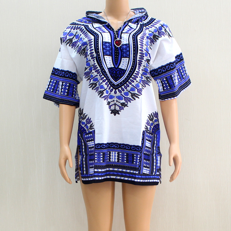 African Clothes  Dashiki   2019 Produced 100% Cotton V-Neck White Blue Short Sleeve Hooded Top