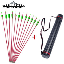 12 Pcs Aluminum Arrows With Spine 500 Red Shaft OD 7.6 mm ID 6.2 Archery Accessories 1 piece Arrow Quiver Shooting Set