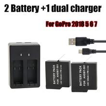 цены на USB Dual Port Battery Charger + 2Pcs AHDBT-501 Battery for GoPro Hero 5 6 7 Black For Go Pro Hero 7 Action Camera Accessory  в интернет-магазинах