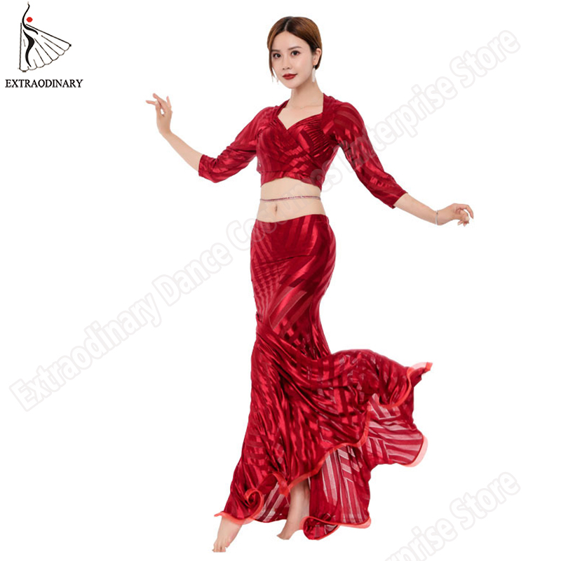 Practice Clothes Women Belly Dance Top Half Sleeve Long Skirt V-Neck 2 Piece Costume Bellydance Stage Performance 4 Colors
