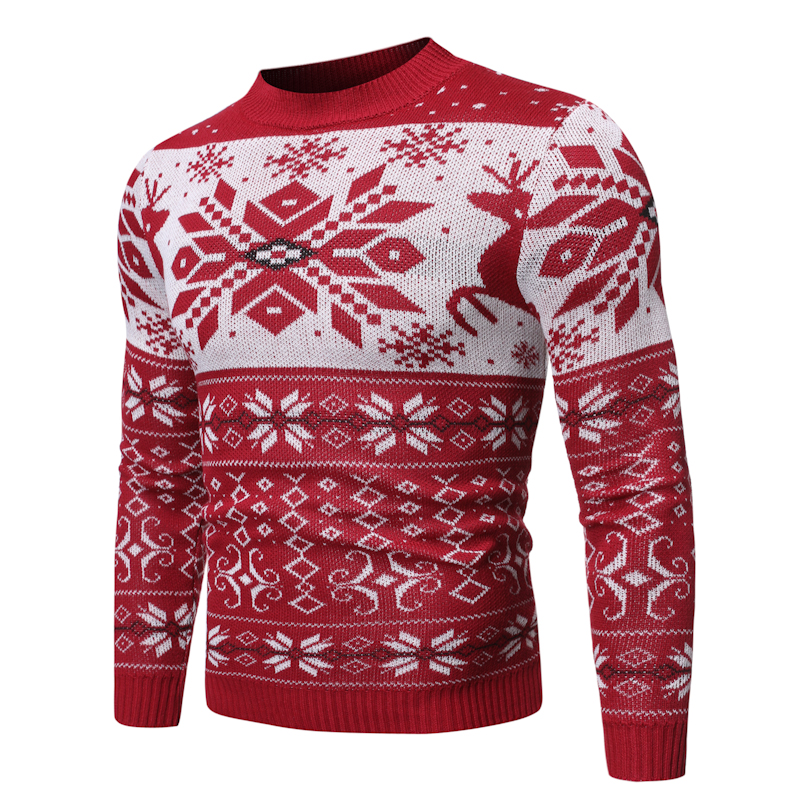 New Christmas Style Men Autumn Winter Pullover Sweater Deer Printed Long Sleeve Thicken Warm O-Neck Sweaters Male Pull Femme