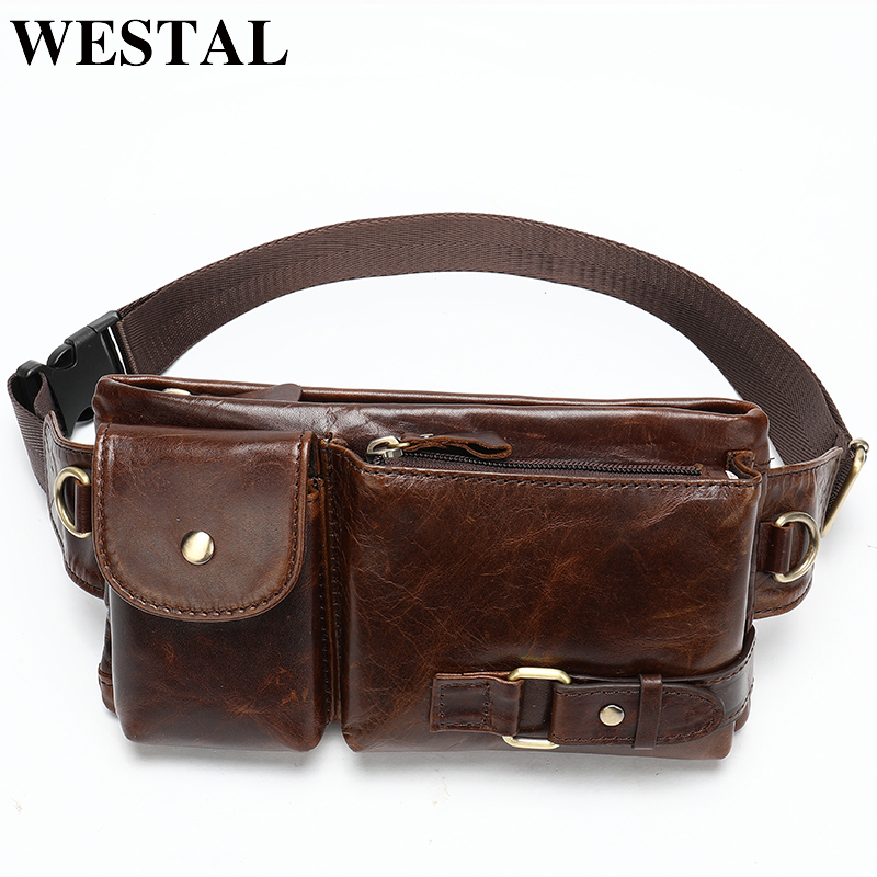 WESTAL Men's Waist Bag Genuine Leather Belt Bags Male Fanny Pack Chest Purse Leather Belt Bags Waist Pack Phone Money Belt 9080