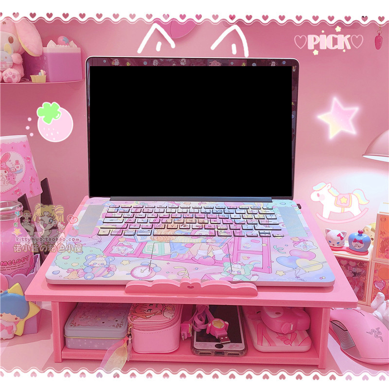 Pink Wooden Laptop Computer Desk To Increase Desktop Computer Stand Can Be Stored Storage Rack Doll Collection