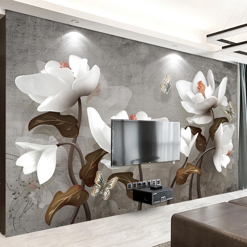 Custom Mural Wallpaper 3D Stereo Relief Magnolia Flowers European Style Retro TV Background Wall Painting Papel De Parede Fresco