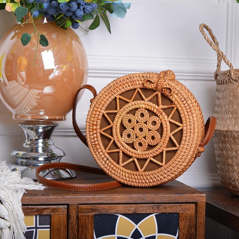 ¡Oferta! cesta de mimbre, cesta de mimbre, cesta tejida a mano de arte antiguo, siete pequeñas bolsas redondas de estrella de cinco puntas - 5