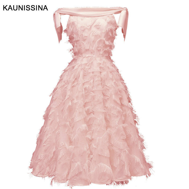 KAUNISSINA Elegant Party   Dress   Robe Off the Shoulder Sexy   Cocktail     Dresses   Sleeveless Tassel Vestidos Homecoming Proms