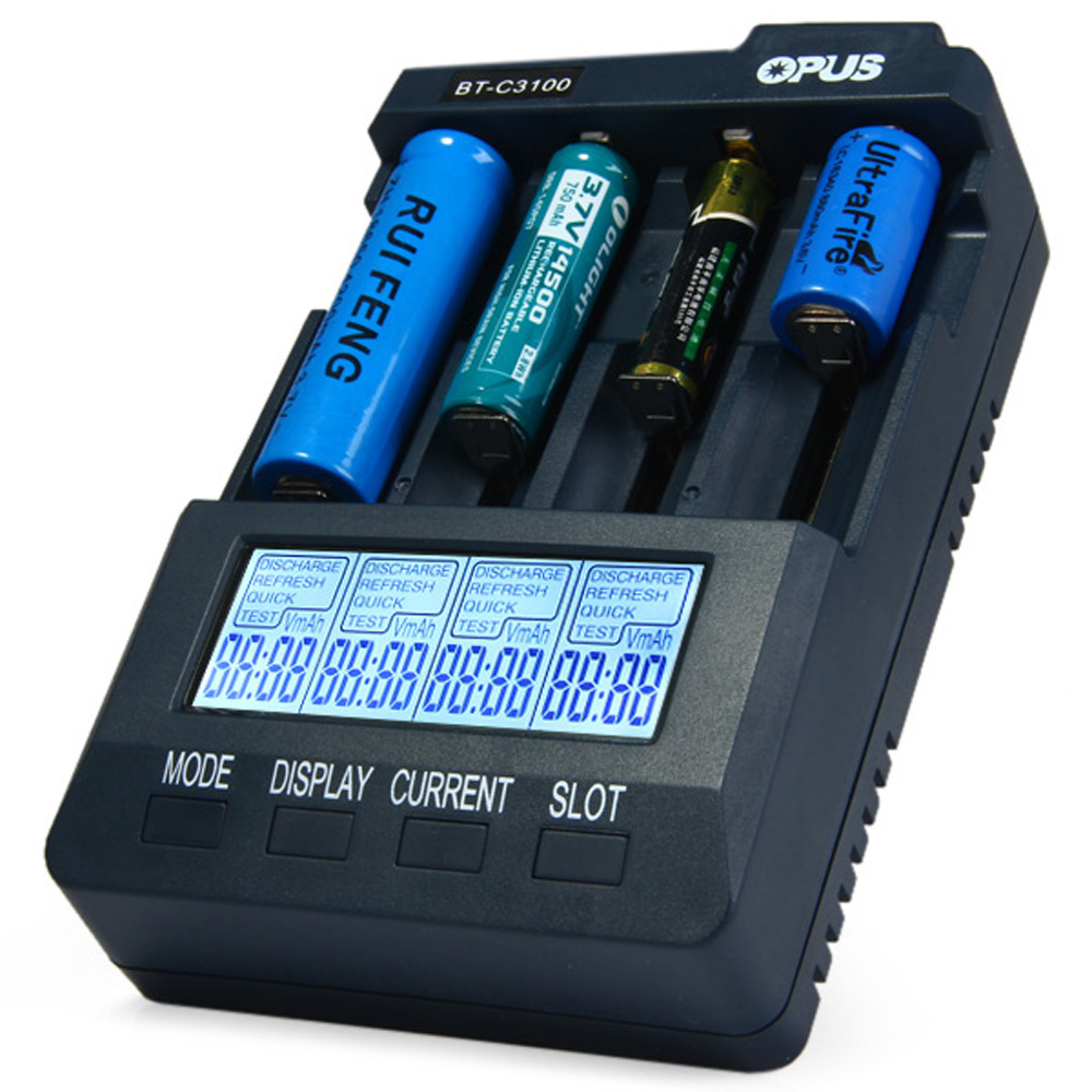 Opus BT C3100 Smart Digital Intelligent 4 Slots LCD Battery Charger Compatible Li-ion NiCd NiMh AA AAA 10440 18650 Batteries EU