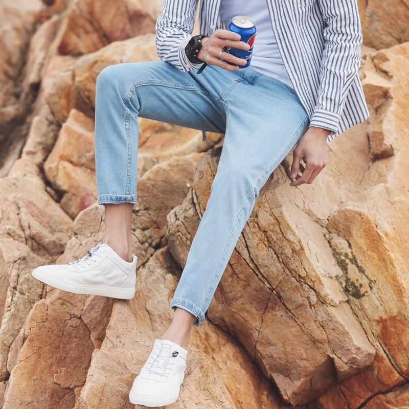 Korean-style Slim Fit Men's Straight-Cut Trend Men Light Color Capri Jeans Korean-style Slim Fit Pants 9 Pants