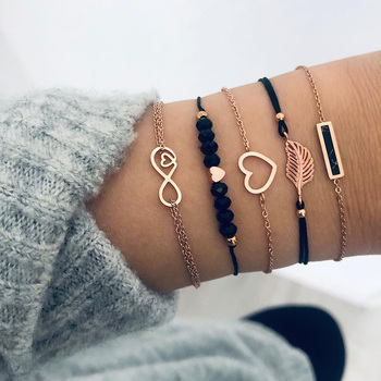 6 pcs/set Love Heart Infinity Symbol Charm Bracelets for Woman Gold Link Chain Bracelets Hollow Feather Black Beads Braclet Girl adjustable rope charm heart bracelet set women men infinity love heart sunflower volcanic stone beads matching paired bracelets
