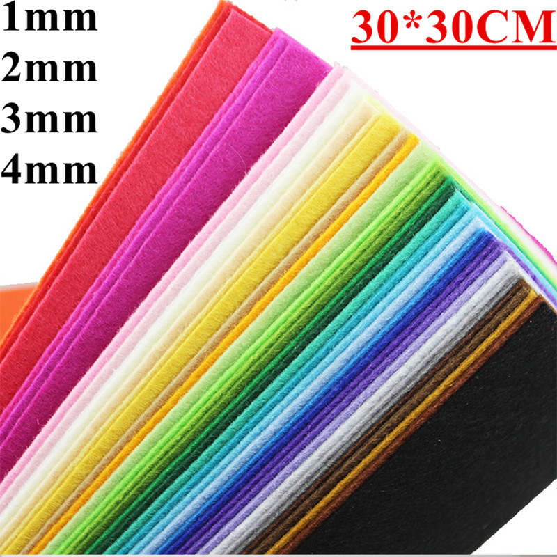 4pcs 1/2/3/4MM 30*30CM Colorful Cloth Felt Fabric For DIY Sewing Toys Needlework Bundle Handmade Polyester Materials Home Decor