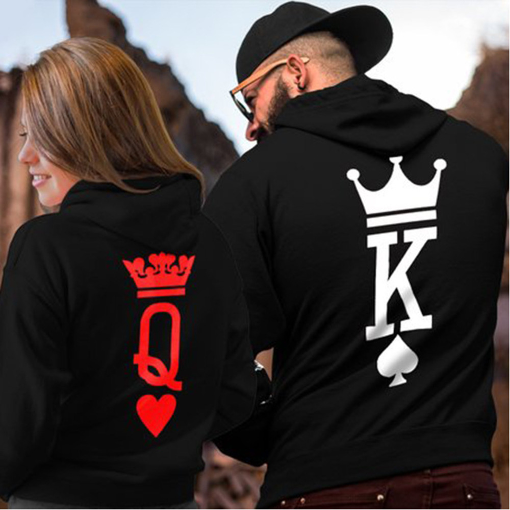 Winter Women Men Hoodies King Queen Printed Sweatshirt Lovers Couples Hoodie Hooded Sweatshirt Casual Pullovers Tracksuits Gift