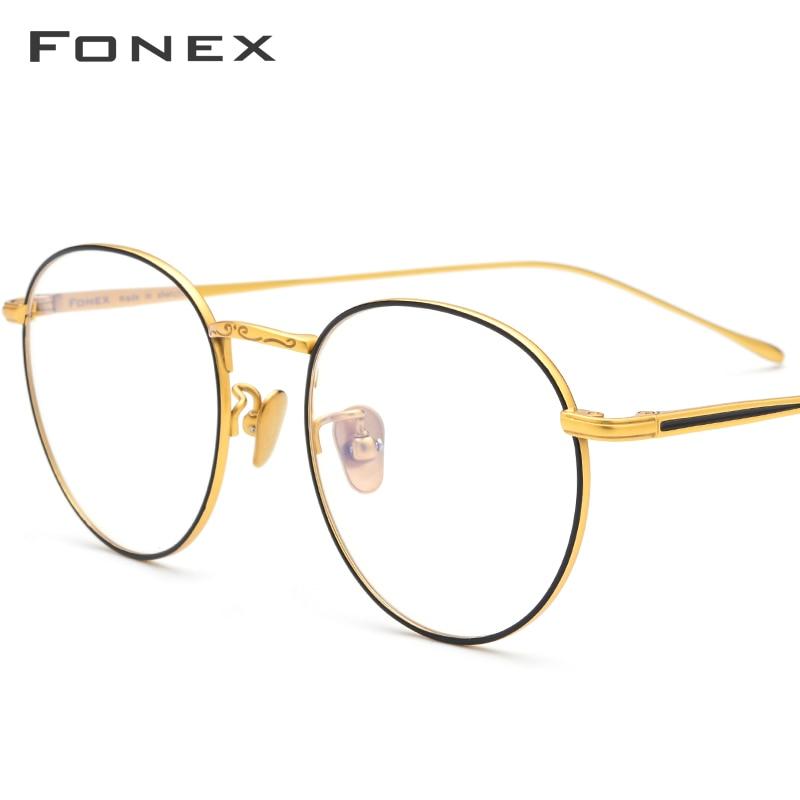 FONEX Pure Titanium Prescription Glasses Frame Men Vintage Round Myopia Optical Eyeglasses Frame Women 2019 Korean Eyewear 888