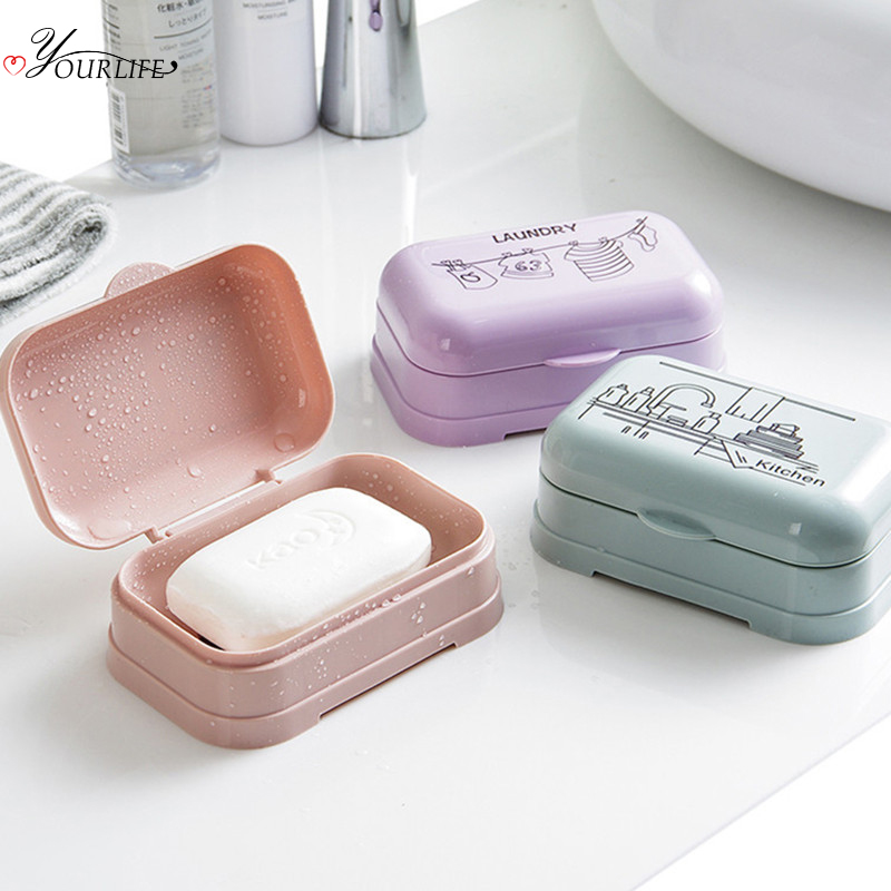 OYOURLIFE Creative Bathroom Waterproof Soap Case With Cover Portable Travel Soap Protect Container Soap Box Bathroom Accessories