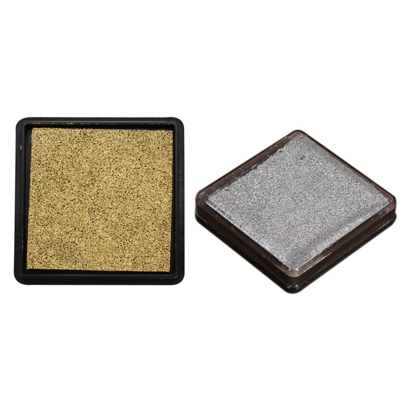 2Pcs Ink Pad Stamp Pad For Wedding Letter Document, Golden & Silver