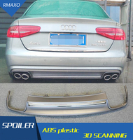 For Audi A4 S4 Body kit spoiler 2013 2016 For Audi A4 RS4 ABS Rear lip rear spoiler front Bumper Diffuser Bumpers Protector
