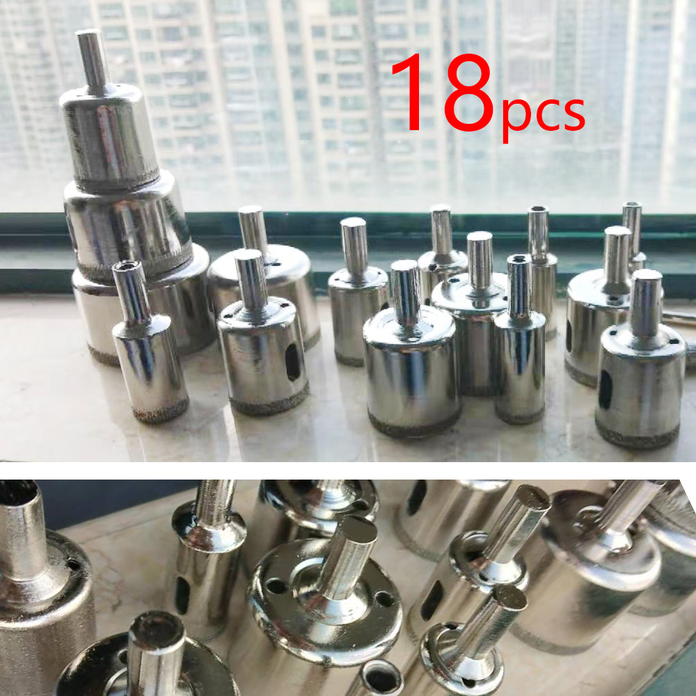 18PC Diamond Drill Bit Set 4mm-50mm Diamond Coated Core Hole Saw Drill Bits Tool Cutter For Glass Marble Tile Granite Drilling