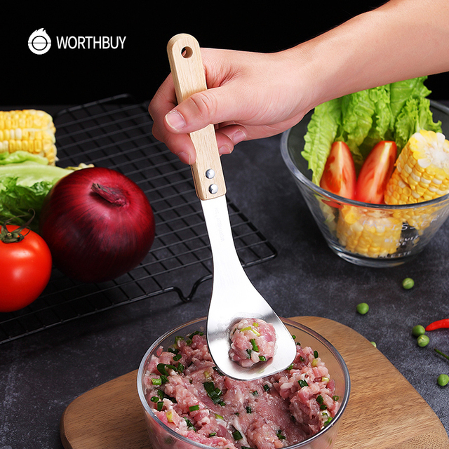 WORTHBUY Creative Meatball Maker Spoon 304 Stainless Steel Meatball Mold Scoop Non-Stick Wooden Handle Kitchen Meat Ball Tools 2