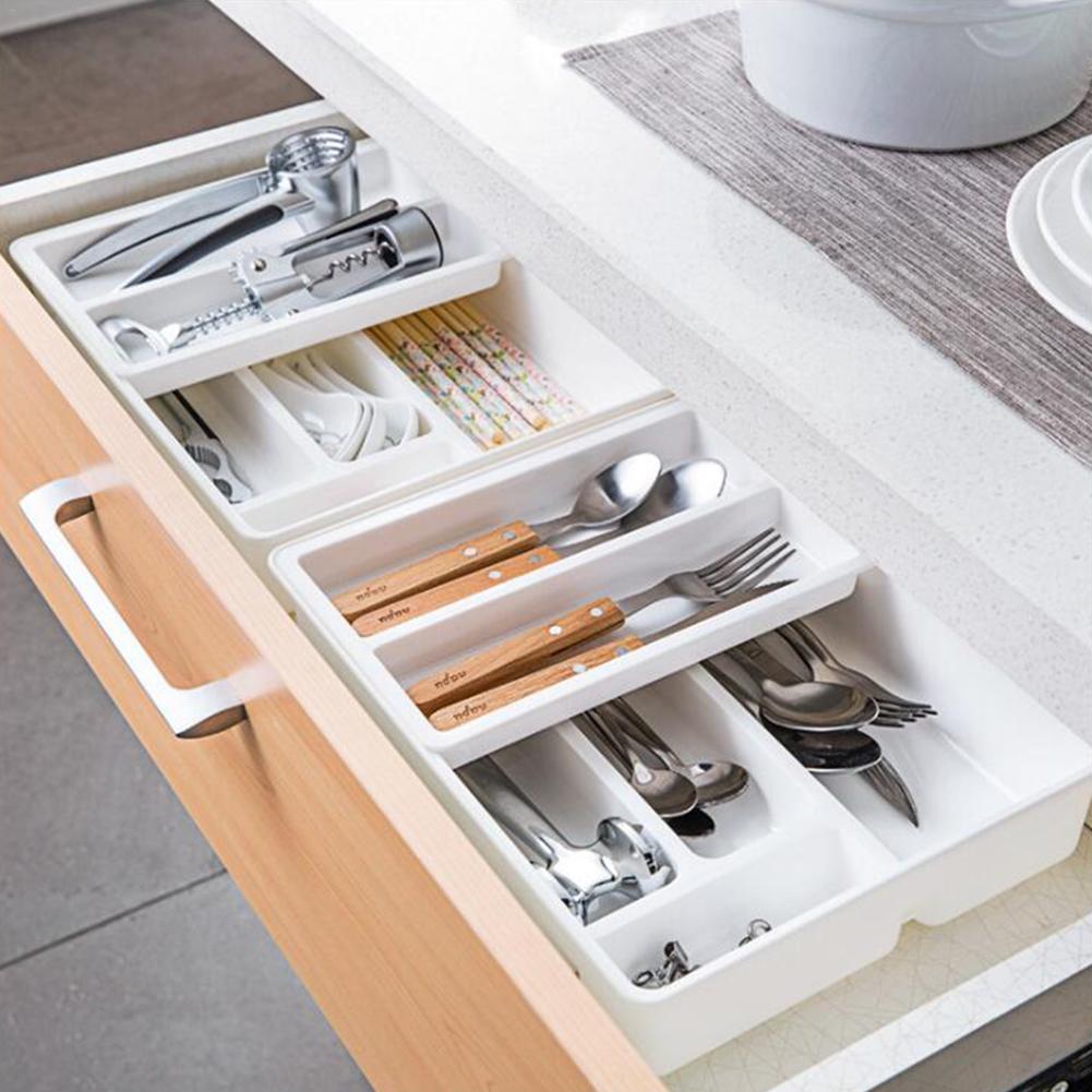 Kitchen Drawer Organizer Tray Spoon Cutlery Separation Finishing Storage Box Multi-layer Cutlery Kitchen Storage Organization